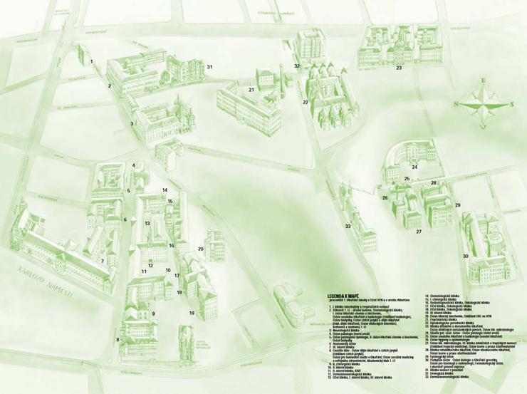Mapa 1. lekarske fakulty UK v Praze